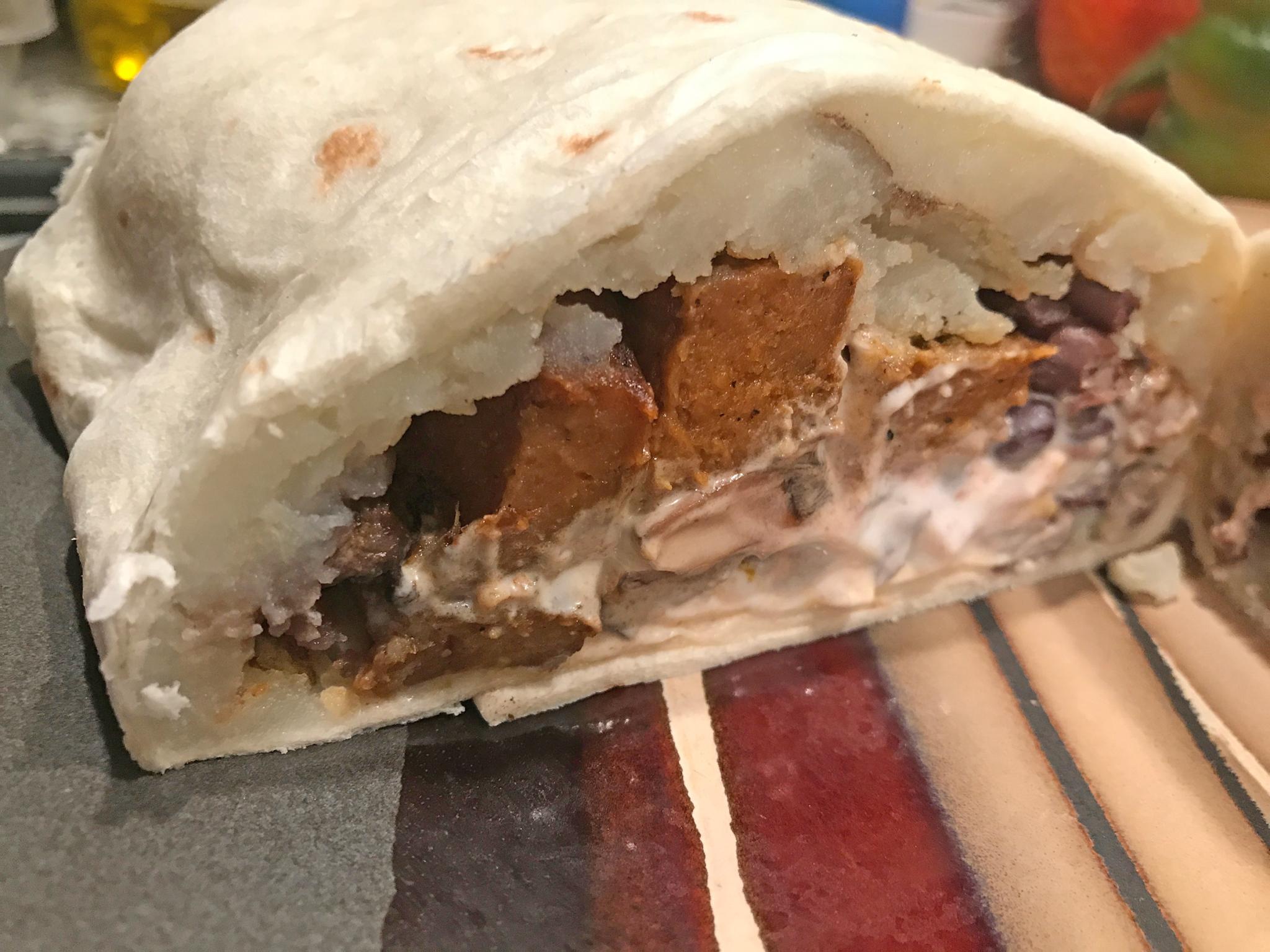 Mashed Potato Seitan Burrito